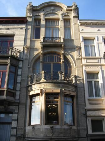 Art Nouveau Era in Brussels. Located At 92 rue Africaine is a privately owned house that was built in 1903according to the plans of Architect De Lestré de Fabribeckers.