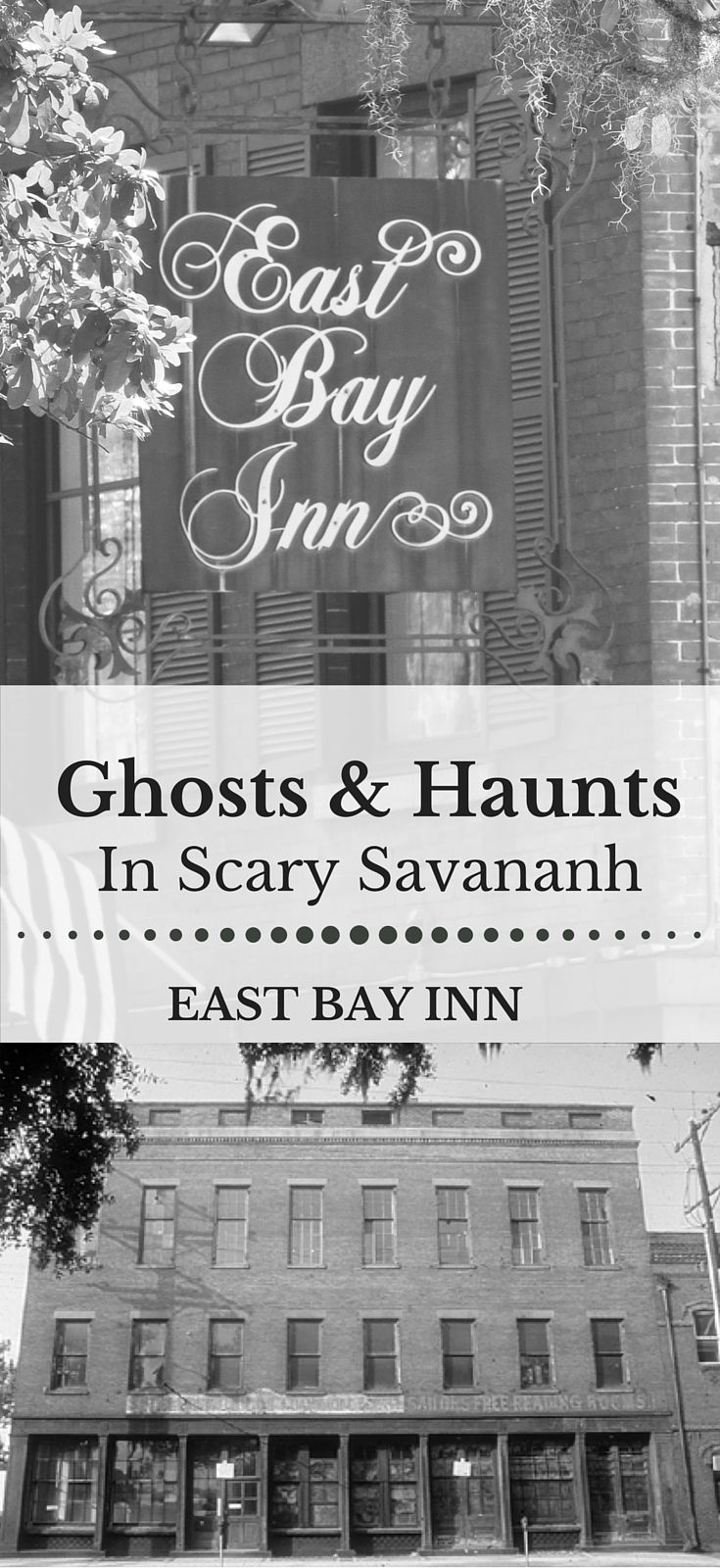 """Haunted Savannah Hotels - Part of the quirky and spectacular fun of Savannah is its reputation as a haunted city. East Bay Inn, was built in 1852, just steps away from the dark waters of the Savannah River. The Inn has its own place in the city's spooky folklore, thanks to our """"ghost,"""" who has been affectionately named """"Charlie"""" by our staff."""