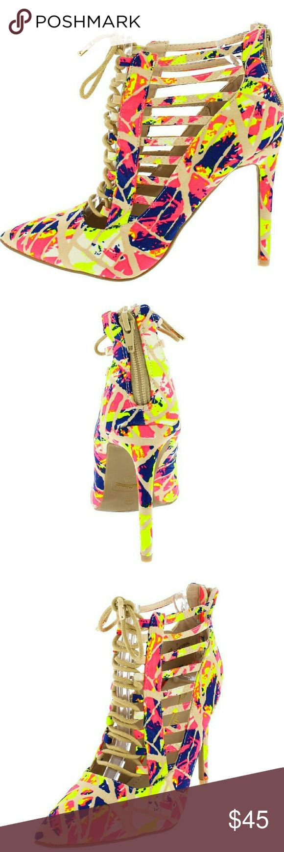 """Womans high heel Rise up Neon color close gladiator style aprox 3"""" high Shoes Heels"""