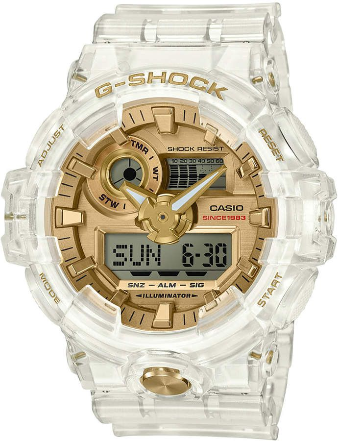 e959d1886e1f G-Shock Front Button Ana-digi Clear Skeleton With Gold Face And Accents  GA735E-7A