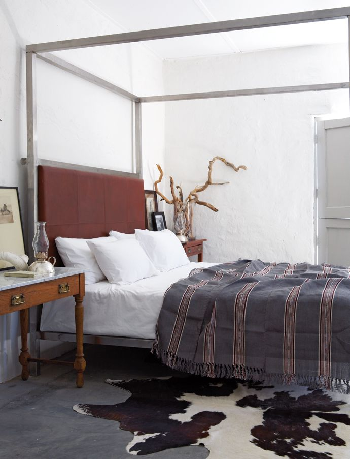 Havens South Designs loves imagining a french bed, cashmere striped blanket and a hide on the floor!