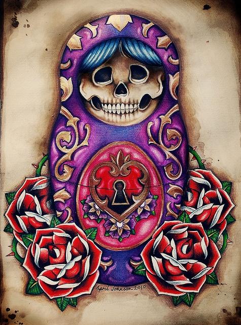 .Candies Skull, Nesting Dolls, Skull Tattoo, Russian Dolls Tattoo, Skeletons Keys, Nests Dolls, Matryoshka Dolls, Minis Heart, Bold Colors