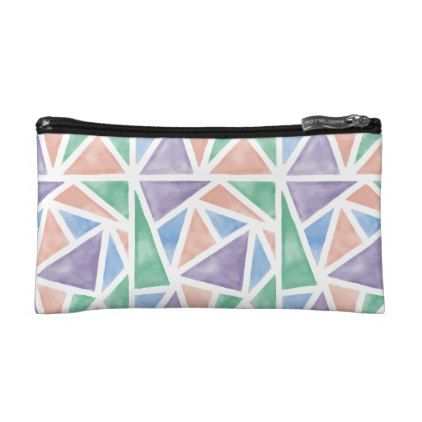 Watercolor Geometric Triangles Small Cosmetic Bag - modern gifts cyo gift ideas personalize