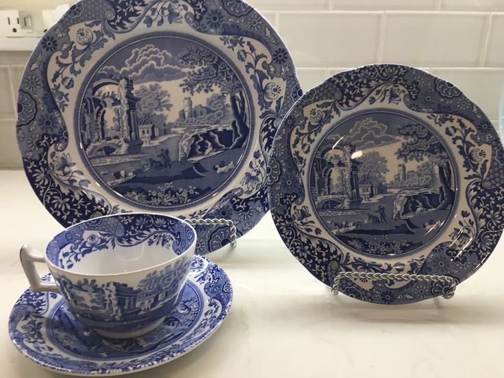 First introduced in 1816, Spode's Blue Italian dinnerware and dishes collection has graced countless tabletops with its quaint country scene and traditional Imari Oriental border in classic blue and white. | eBay!