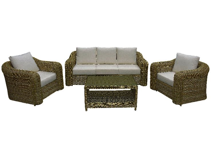 Wicker. Beautiful honey colour wicker with thick cushions and glass top coffee table.