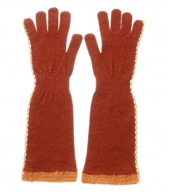 Cashmere Blend gloves with crochet decoration on the side and the bottom packaged in Signature box