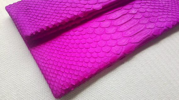 Fuchsia Fold Over Python Snakeskin Clutch Envelope by amezti
