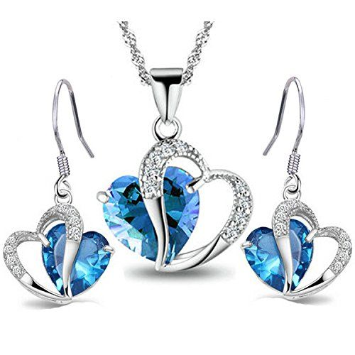 Godyce Heart Pendant Necklace and Earrings Women Gril - Silver Blue Crystal Fashion Jewelry: Jewelry: