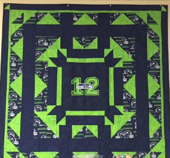 SEAHAWKS QUILT KIT W/EMBROIDERED CENTER