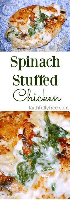 6 ingredient Spinach Stuffed Chicken Breast. A great way to include spinach in your child's dinner with no complaints! Don't believe me? Just try it!