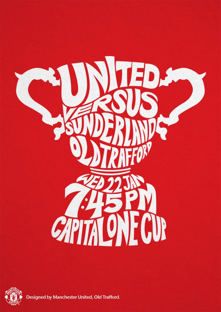 Match poster. Manchester United vs Sunderland, 22 January 2014. Designed by @manutd.
