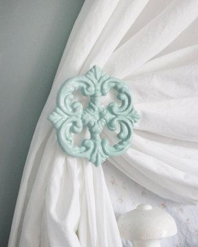 Curtain Tie Backs, set of Two, Cast Iron drapery Holdbacks.