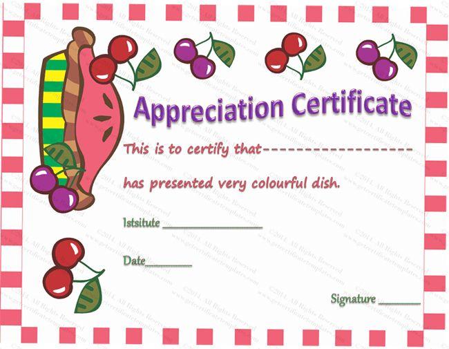 Colorful Dish Certificate of Appreciation Template Certificate - cooking certificate template