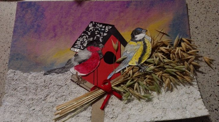 This is my first picture of a self-made card, theme is a Christmas eve morning with sparrows.