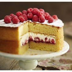 The Best-Ever Sponge Cake recipe! Victoria sponge with fresh raspberries and cream. Yummy!