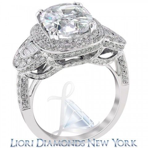 6.09 Carat D-SI1 Cushion Cut Natural Diamond Engagement Ring 14K Vintage Style - Side-stone Engagement Rings - Engagement - Lioridiamonds.com