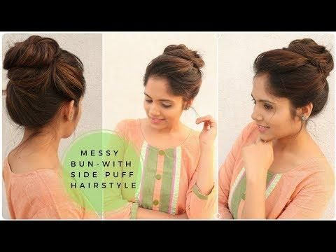 Easy Messy Bun With Side Puff Hairstyle Stylish Bun Hairstyle For