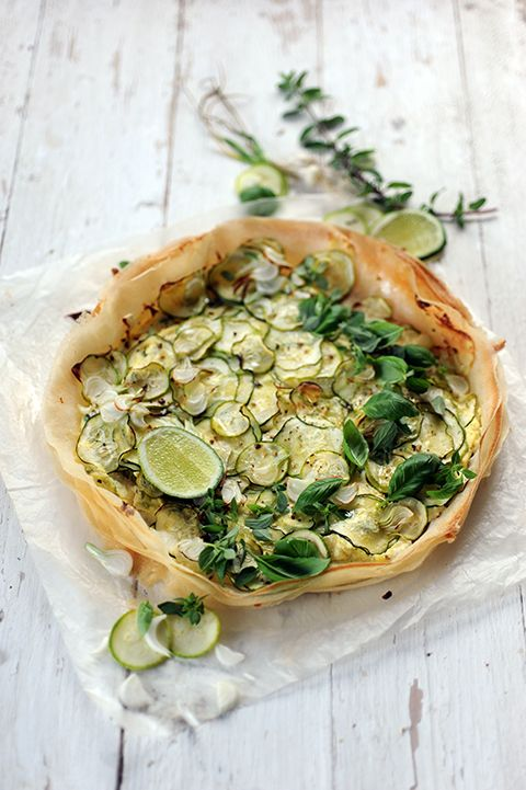 ZUCCHINI, BASIL, OREGANO & CHAVROUX GOAT CHEESE TART on FEUILLE DE BRICK with LIME CHEEKS