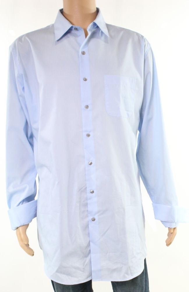 fd8764b05 Alfani NEW Light Blue Mens Size 19 Solid Performance Button Down Shirt  37  142  fashion