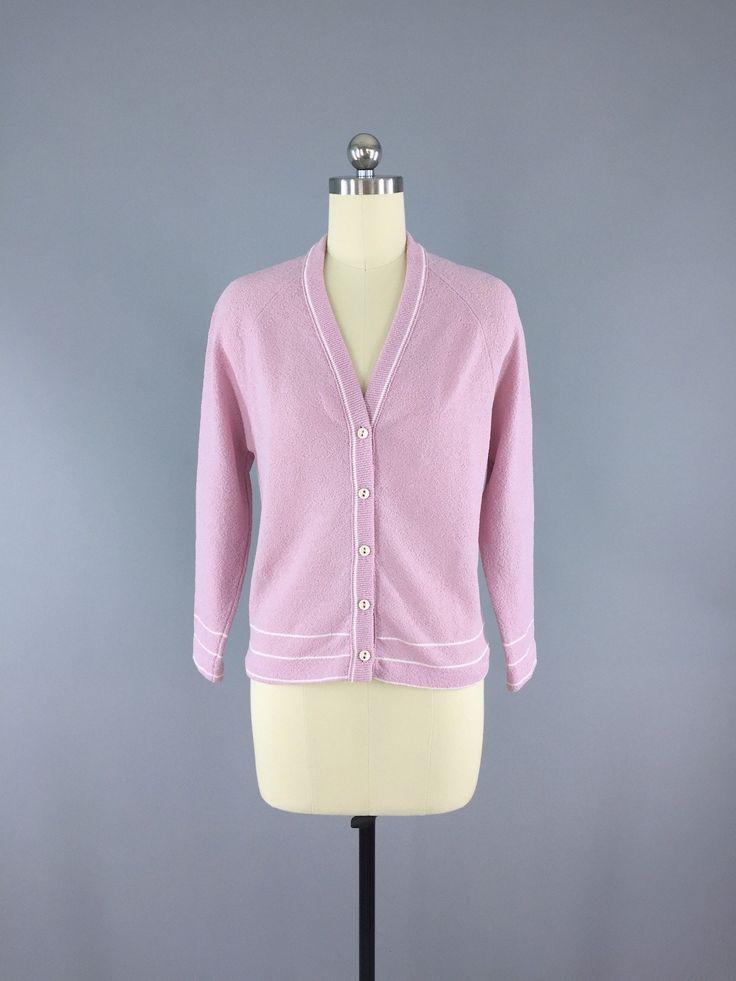 Vintage 1970s Lavender Pink Cardigan Sweater