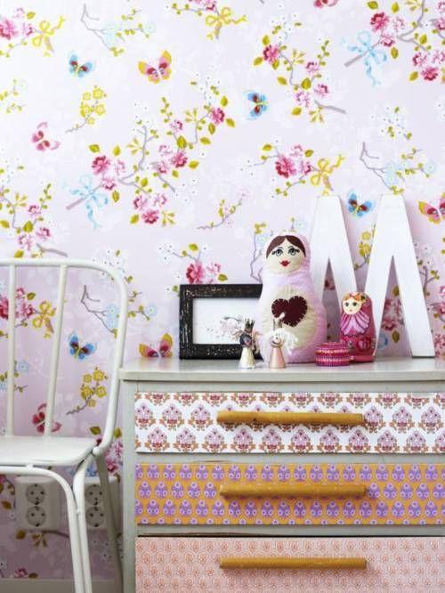 petitevanou:Dressers Drawers, Inspiration, Girlsroom, Pattern, Girls Bedrooms, Kids Room, Kidsroom, Girls Room, Wallpapers Child Bedrooms