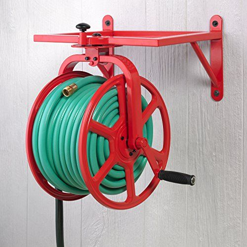 Liberty Garden 713 Revolution Multi Directional Hose Reel, Red  Liberty Garden's Revolution Multi Directional Hose Reel holds 150′ of 5/8″ hose with 5′ of leader hose. This bright red hose reel features 18 gauge steel construction and a durable powder coat finish. The 90 degree solid brass swivel helps prevent hose damage during winding. With 24 locking positions this hose reel is ideal for jobs small and large. The 12″ X 14″ storage tray will hold your watering essentials. Functiona..