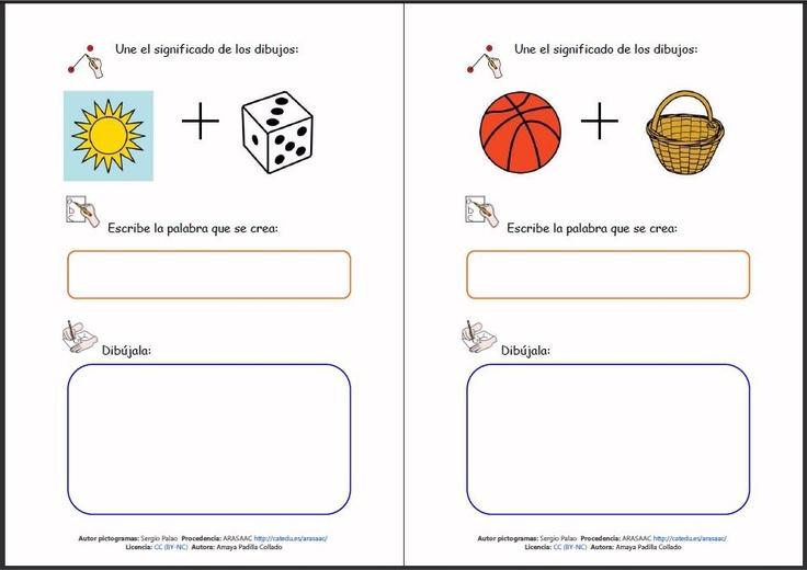 MATERIALES - Jeroglíficos.    Jeroglíficos formados por dos pictogramas que al unirlos forman una palabra. Cada ficha incluye también la escritura de la palabra y su representación a través de un dibujo por parte del alumno.    http://arasaac.org/materiales.php?id_material=102