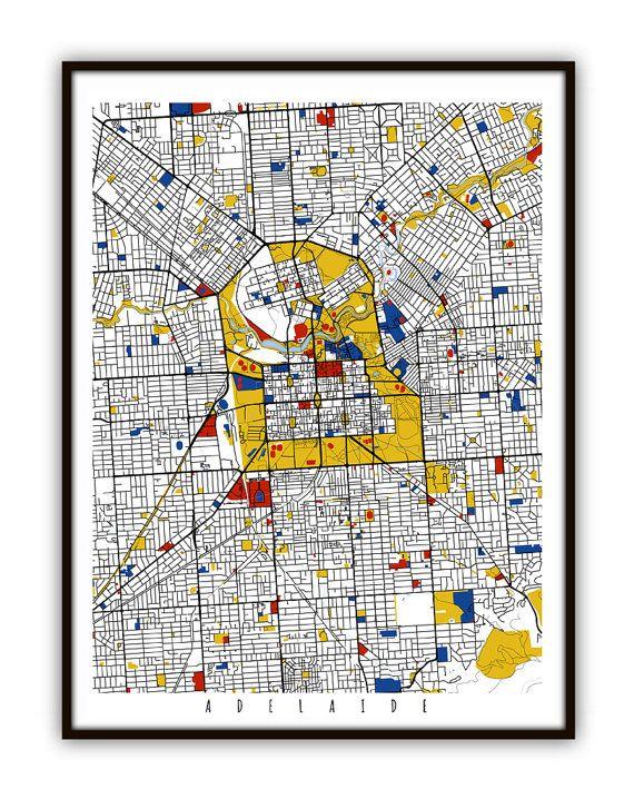 Adelaide Map Art / Adelaide Australia Wall Art / by MondrianMapArt