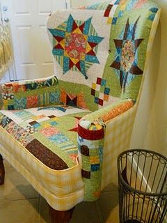 LOVE this colorful quilted wingback chair!: Quilts Patterns, Quilts Chairs, Crafts Rooms, Quilts Blocks, Sewing Rooms, Quilts Design, Wingback Chairs, Cool Chairs, Upholstery Fabrics