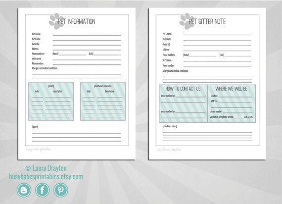 house sitter information sheet