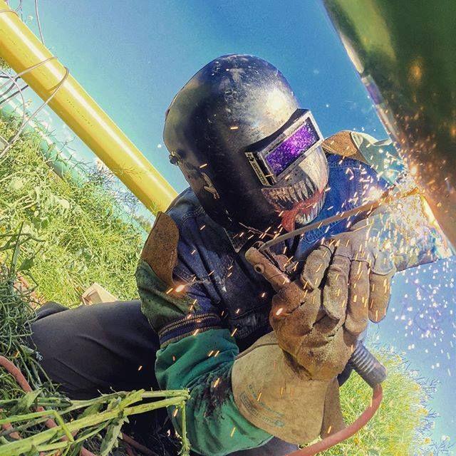 Carbon steel pipe welding works.