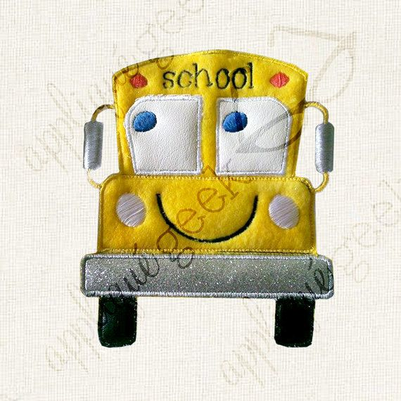 "Cartoon School Bus Applique Embroidery Design INSTANT DOWNLOAD for DIY projects, from Designed by Geeks. Use any embroidery machine - Brother, Viking, Janome, Bernina, Pfaff, Singer - to stitch this design.  This is an appliqué design of a smiling, cartoon school bus, perfect for Back to School! The word ""school"" is on the top of the bus."