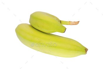 Unripe bananas on a white background