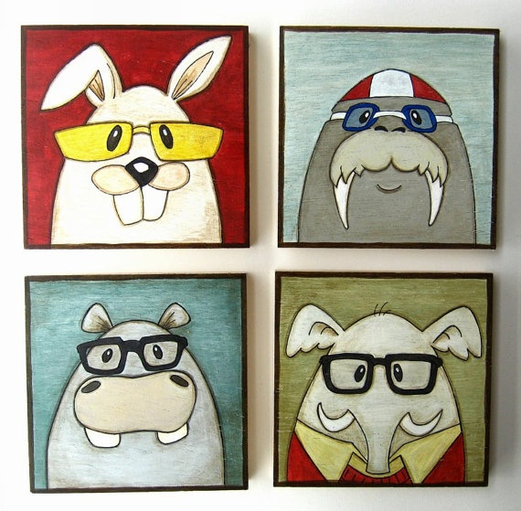 Funny Animal Portraits  Gifts for Kids Birthday by Lunartics, €95.00