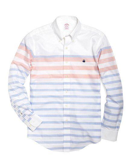 Non-Iron Regular Fit Oxford Horizontal Stripe Sport Shirt - Brooks Brothers