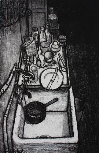 """58 Hogarth Rd (Kitchen Sink)"" by Barry Kirk, 1957 (etching)"