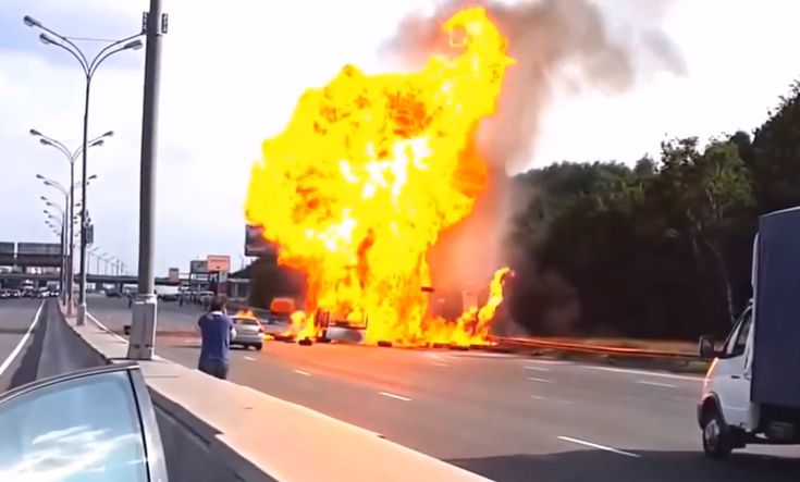 All Hell Breaks Lose After Explosive Gas Canisters Escape In A Highway Crash. Like a scene from DieHard! Click the pic to be blown away....