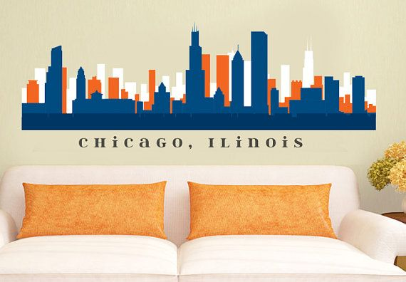 CHICAGO BEARS Skyline NFL Football Team Colors by AmericanDecals