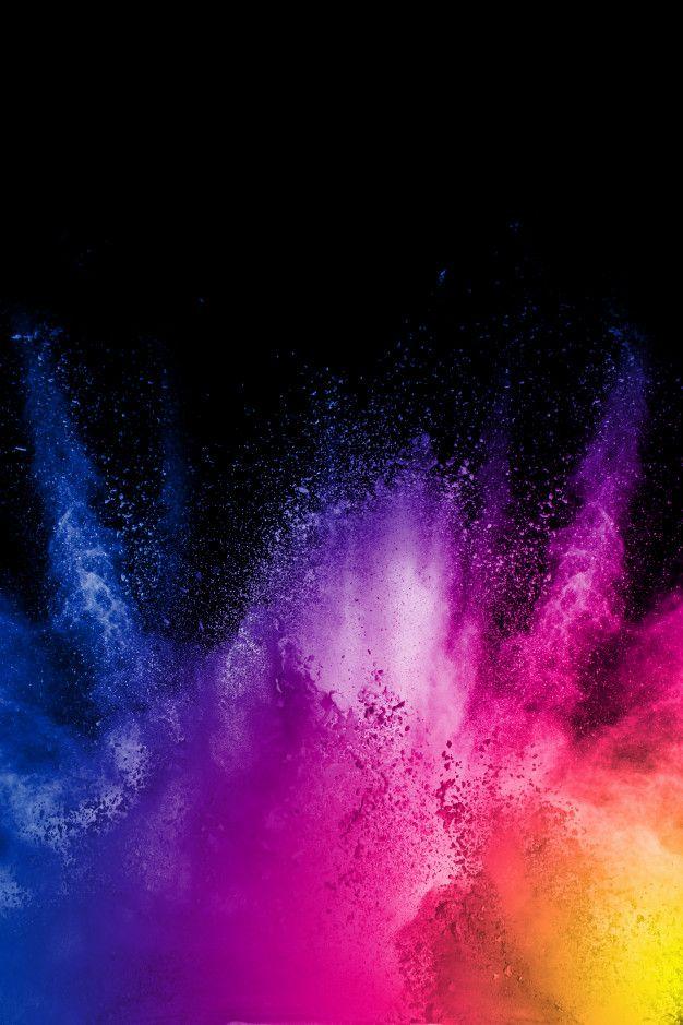 Nuage D Explosion De Poudre De Couleur Sur Fond Noir Figer Le Mouvement Des Particules De Poussiere De Couleur Eclaboussant Color Powder Color Dust Black Backgrounds