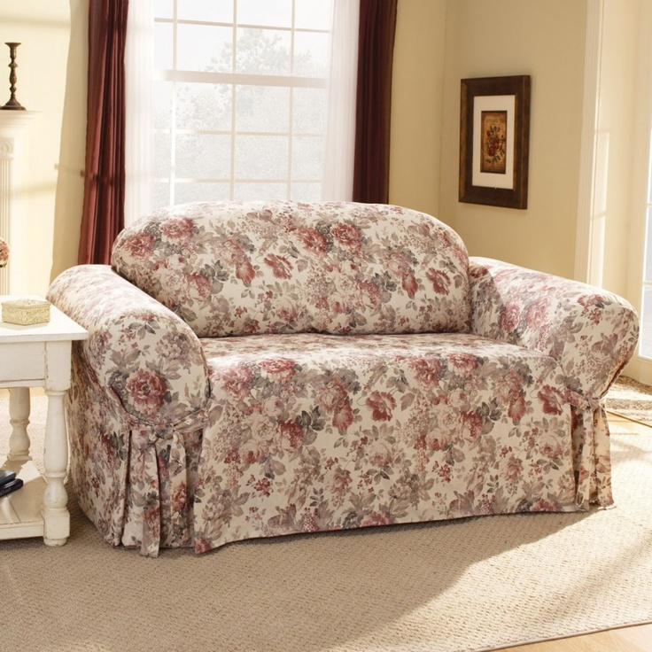 Sure Fit Chloe Floral Sofa Slipcover Box Cushion