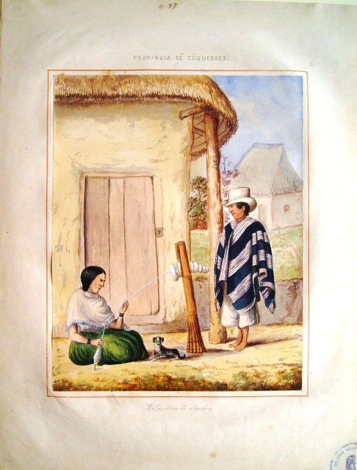 """""""Hilandera de algodón. Provincia de Túquerres"""". Manuel María Paz, 1853. BNC, 5037."""