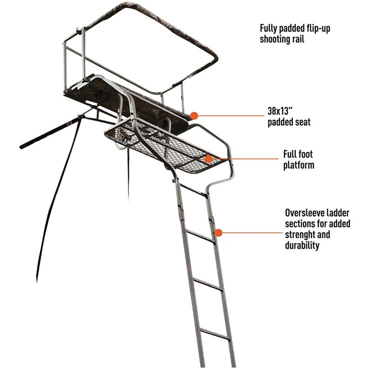 Guide Gear 18' Deluxe 2-man Ladder Tree Stand - 658560, Ladder Tree Stands at…