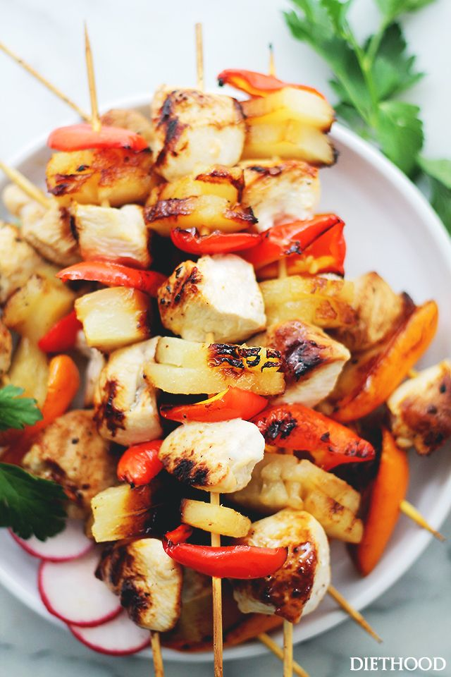 Sesame Soy Pineapple Chicken Kabobs - The sweet and tart sesame-soy marinade is the perfect accompaniment to these incredibly delicious pineapple and chicken kabobs!