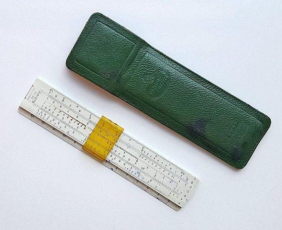 Vintage Aristo Slide Rule Faber Castell Nr89 with green leather case Logarithmic Slide Ruler Made in Germany