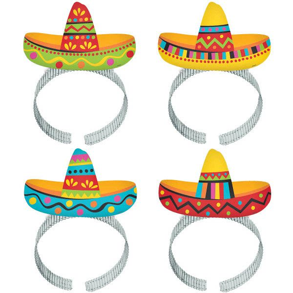 Ole! Add a little flavor to your fiesta with these Sombrero Headbands. These lightweight headbands feature a card-stock cutout of a party sombrero. Each pack contains 8 festive headbands.
