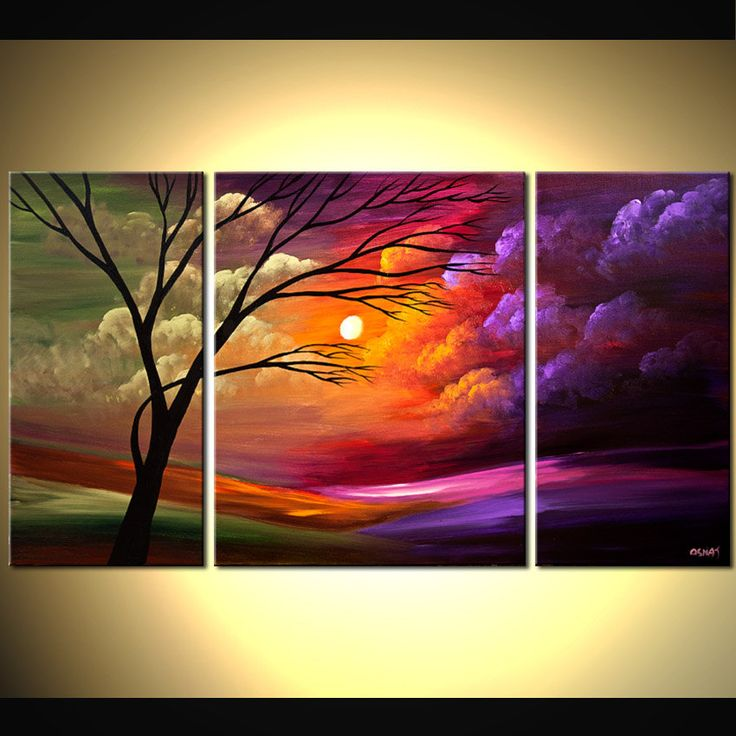 ORIGINAL Abstract Landscape olive PurpleTree by OsnatFineArt