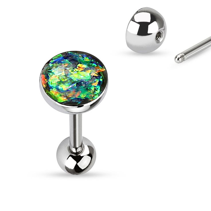 Tongue Ring Opal Sparkle Light Green 14ga Surgical Steel Body Jewelry