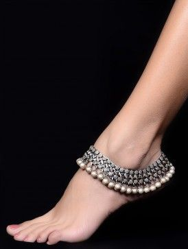 Floral Drop Silver Anklet - Set of 2