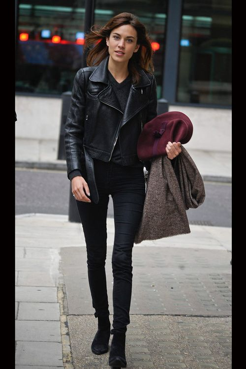 Alexa Chung. Leather jacket