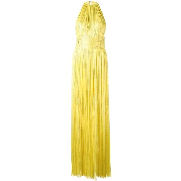 Maria Lucia Hohan sleeveless belted gown ($1,722) ❤ liked on Polyvore featuring dresses, gowns, maria lucia hohan gown, silk evening gowns, maria lucia hohan dress, yellow ball gown and silk evening dresses